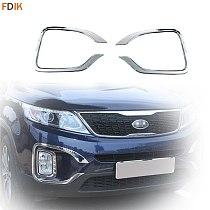 2pcs Chrome Front Bumper Bucktooth Fog Light Lamp Cover Trim Garnish Protector Accessories for Kia Sorento 2014-2015