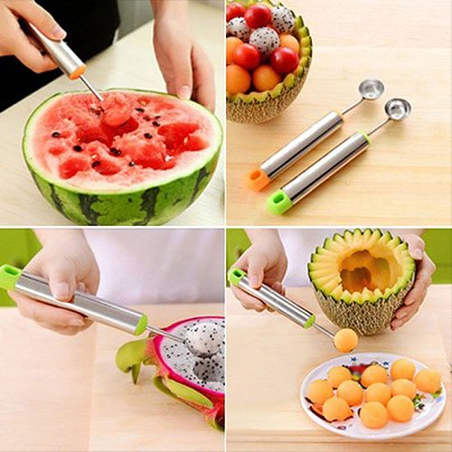 Creative Watermelon Melon Fruit Spoon Ice Cream Dig Ball Scoop Spoon Melon Baller DIY Assorted Cold Dishes Tool Kitchen gadgets