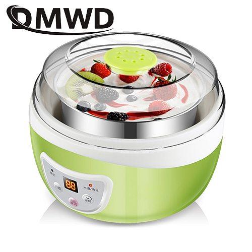 DMWD Multifunctional Electric Yogurt Maker Timing Natto Rice Wine Machine Automatic Yoghurt Fermenter With 4 Leben Glass Cups EU