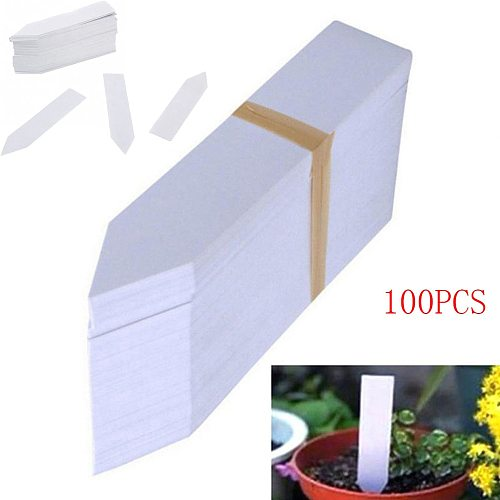 30# 100 Pcs Plastic Plant Seed Labels Pot Marker Nursery Garden Stake Tags 10cm x2cm Plant Name Marking Garden Supplies