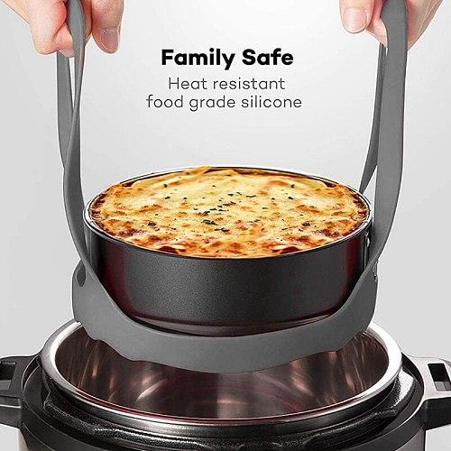 2 Pcs Pressure Cooker Sling,Silicone Bakeware Sling,Multi-Function Cooker Bakeware Lifter Steamer Rack 6Inch+8Inch
