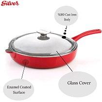 Cast Iron Pan Non-stick Enamel Coating 28 Cm Frying Flat Pan glass covered Egg Pancake Pan Kitchen & dining Tools Cookware