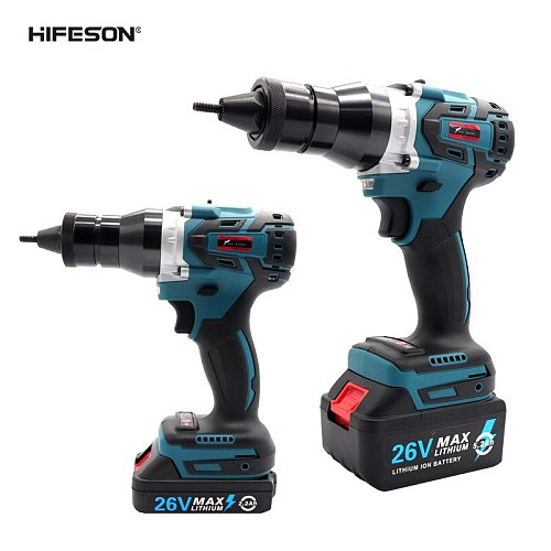 HIFESON Brushless Electric Ramm Gun 26V Rechargeable Automatic Rivet Nut Gun Rivet Tool M3-M12 With 5.2Ah Lithium Battery