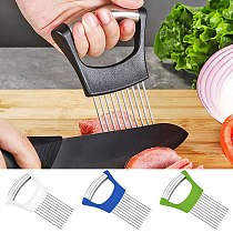 Stainless Steel Onion Needle Onion Fork Kitchen Gadgets Onion Slicer Tomato Vegetables Safe Fork Vegetables Slicing Cutting Tool