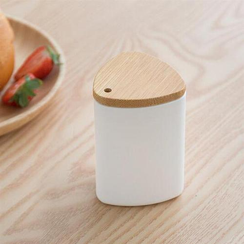 1 pc Toothpick Holder Simple Desktop Container Toothpicks Jar Dispenser with Bamboo Lid for Hotel