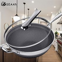 Non-stick Pan Double-sided Honeycomb 304 Stainless Steel Wok Without Oil Smoke Frying Pan Wok Without Phosphorus Kitchen Pan