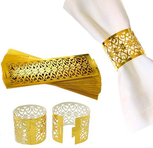 20pcs/set Towel Buckle Laser Cut Paper Napkin Rings Supplies Lace Design Personalized Wedding Party Decoration Wholesale
