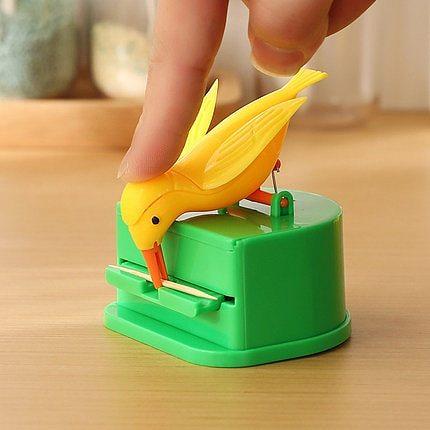 Toothpick Box Bird Toothpick Box Upgrade Version Automatic Press Toothpick Holders Kitchen Funny Creative Storage Tool organizer