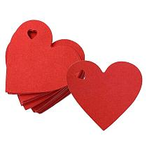 1 Set 100Pcs Valentine'S Day Hanging Tags Heart-Shaped Gift Tags Labels For Wedding Party DIY Decor Accessories (Red)