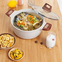 20cm Soup Pot With Lid Nonstick Cooking Stock Pot Induction Compatible With Granite Stone Coating Soup Pot