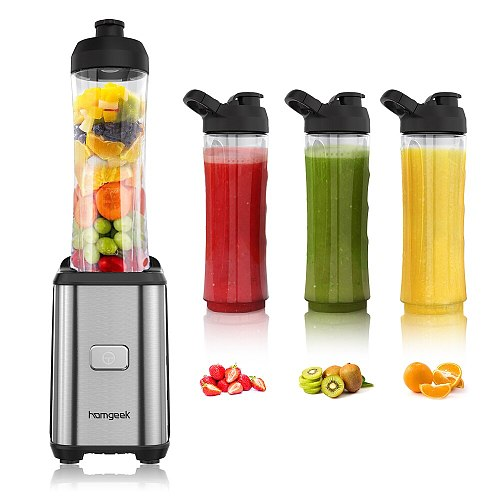 Homgeek Mini 350W Fruit and Vegetable Single Serve Juice Extractor Smoothie Blender Food Processor Blenders Travel Sport Cups