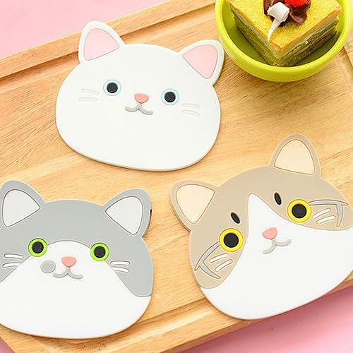 Silicone Cat Shaped Tea Coaster Cup Mat Pad Mug Holder Mat Coffee Drinks Table Placemats Heat-resistant Cup Coasters