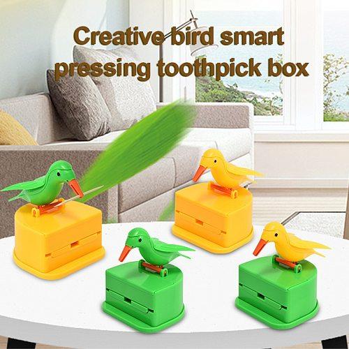 Creative Hummingbird Toothpick Dispenser, Automatic Pressing Bird Toothpick Holder, Simple and Convenient Bamboo Pick Box TSLM1