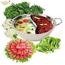 Delidge 1 pc 30 cm Twin Divided Hot Pot Stainless Steel Chinese Traditional Hot Pot Ruled Compatible Soup Cooking Pot
