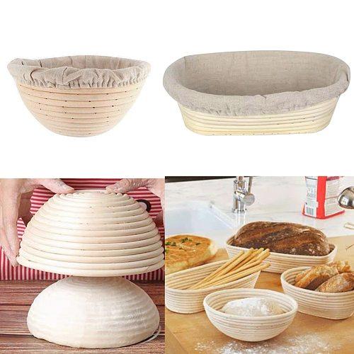 Banneton Natural Rattan Fermentation Basket Bread Basket Round /Oval Bread Wicker Cloth Cover Baskets Food Storage Basket