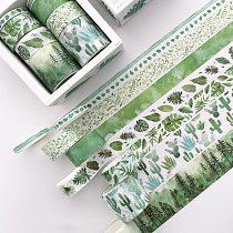 8 pcs/pack Green Leaves Cactus Journal Washi Tape Set Adhesive Tape DIY Scrapbooking Sticker Label Masking Tapes Supplies