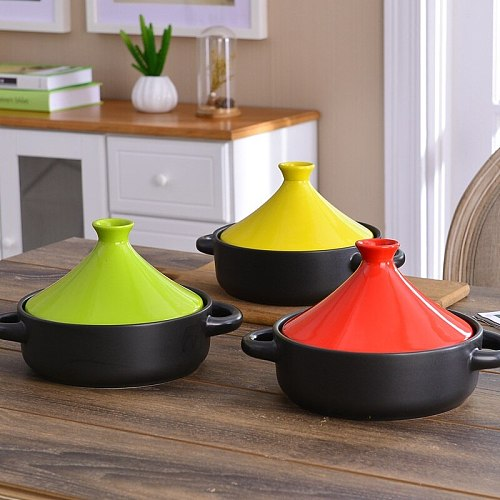20cm 7.86in with handlebar Taji pot Han style imported ceramic casseroles cover rice pot heat resistant