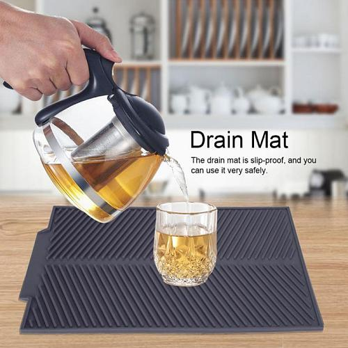 Foldable Kitchen Dish Drain Mat Dry Thermal Insulation Soft Silicone Sink Pad Dining Table Household Non-slip Pad Drain Mat