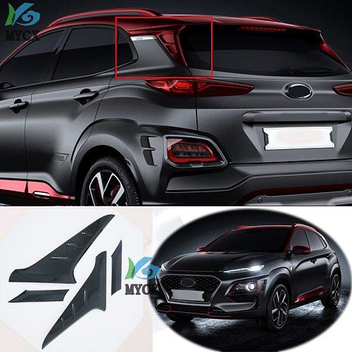 For Hyundai Kona 2017 2018 2019 2020 SUV Carbon Fiber Rear Window Spoiler Cover Trim Triangle Garnish Molding Car Accessories