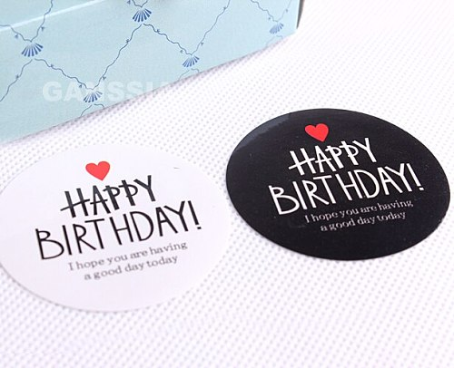 80pcs/lot Dia 4.5cm Black&White Birthday Gift Seal Stickers Fun Packing Label Sticker Party Supplies (ss-1500)