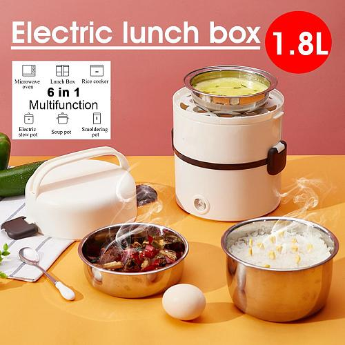 3 Layers 1.8L Stainless Steel Electric Rice Cooker Steamer Portable Meal Thermal Heating Lunch Box Food Container Warmer 250W