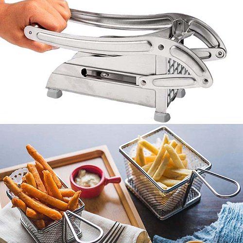 Fry Cutter Potato Chipper 2 Blades Cutter Stainless Steel Home French Fries Potato Chips Slicer Cutter Kitchen Cucumber Chopper