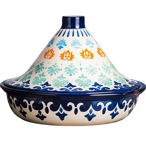25cm Moroccan Ceramic Taji Pot Handmade Glaze  Barbecue Pots with Lid Just for Toaster and Microwave Oven Home Tableware 1.5L