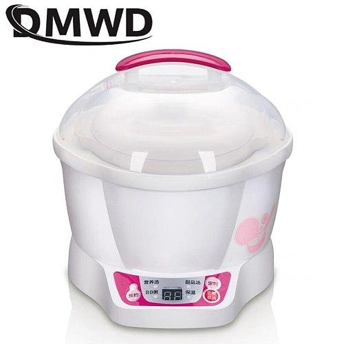 DMWD Electric Slow Cooker 0.7L Mini Intelligent Ceramic Timing Thermal Water Stewing BirdsNest Soup Porridge Baby Food Cook Pot