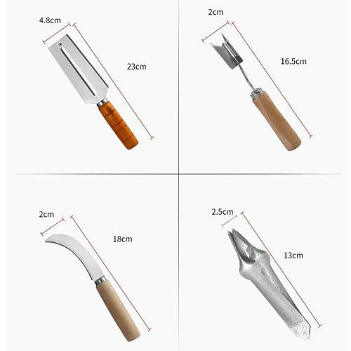 4pcs/Set Stainless Steel Creative Pineapple Peeler Seed Remover Easy Sugarcane Pineapple Knife Cutter Corer Slicer Clip Salad
