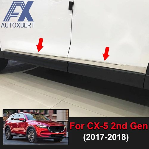 AX Car Styling Chrome Door Side Line Body Molding Garnish Trim Cover Strip Decoration Stainless For Mazda Cx-5 Cx5 KF 2017 2018