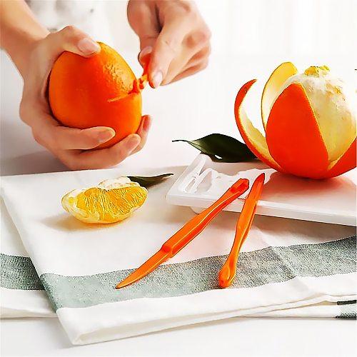 6pcs Orange Peeler Plastic Portable Orange Skin Remover Opener Slicer Home Office Kitchen Tool