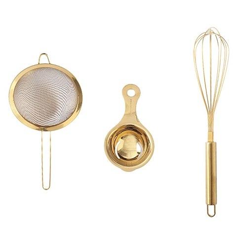Stainless Steel Fine Mesh Strainer Egg Beater Egg Separater Oil Strainer Flour Sifter Colander Kitchenware,Golden