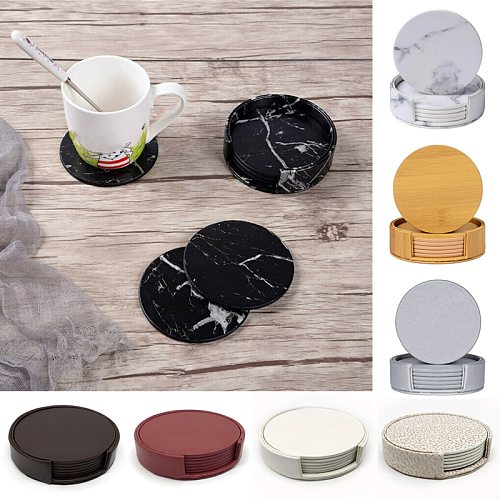 6PCS Creative Marble PU Leather Coaster Drink Coffee Cup Mat Tea Pad Dining Table Placemats Table Black White Chic Decoration