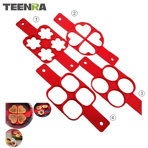 TEENRA Red Non-stick Silicone Egg Mold Flippin' Fantastic Silicone Form For Pancake Ring Egg Maker Round Square Heart Star