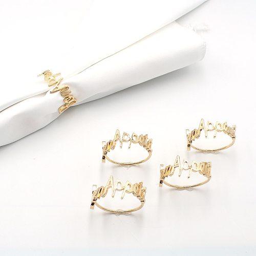 2pcs/Lot Enjoy Your Meal Table Napkin Ring Metal Serving Kitchen Napkin Holder for Golden Napkin Table Decorative