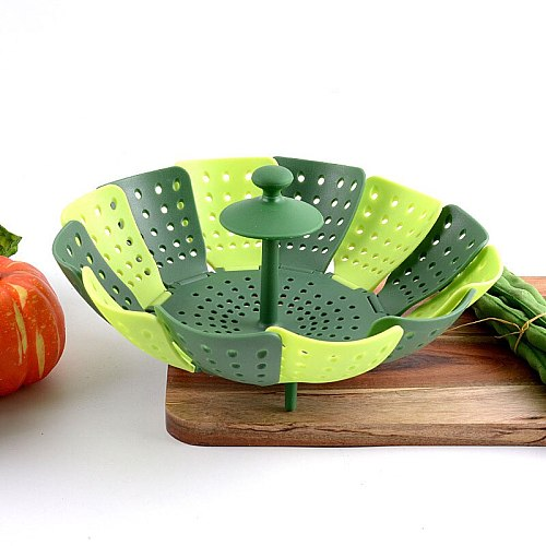 Expandable Foldable Steamer Fruit Basket Food Storage Container Silica Gel Vegetable Steamers Kitchen Supplies Cooking Tool