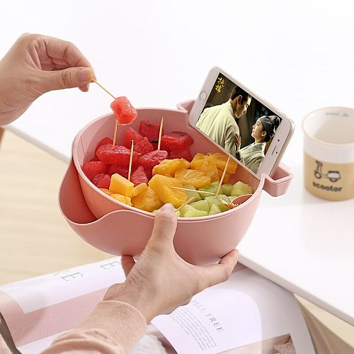 Creative Plastic Fruit Bowl Double Detachable Drain Plate Candy Dish Melon Seeds snack dessert Container Mobile Frame Supporter