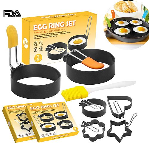 Egg Ring Set for Frying Shaping Eggs Non Stick Round Egg Cooker Rings for Cooking Fried Egg McMuffin Sandwiches Kitchen Tools