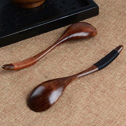 Wooden Spoons Large Long Handled Spoon Kids Spoon Wood Rice Soup Dessert Spoon Bamboo Kitchen Cooking Utensil Tool Tablewar 17cm
