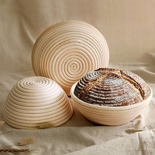 Indonesian Rattan Round Bread Fermentation Basket Cotton Linen Cloth Cover Stainless Steel Bread Dough Cutter Plastic Scraper