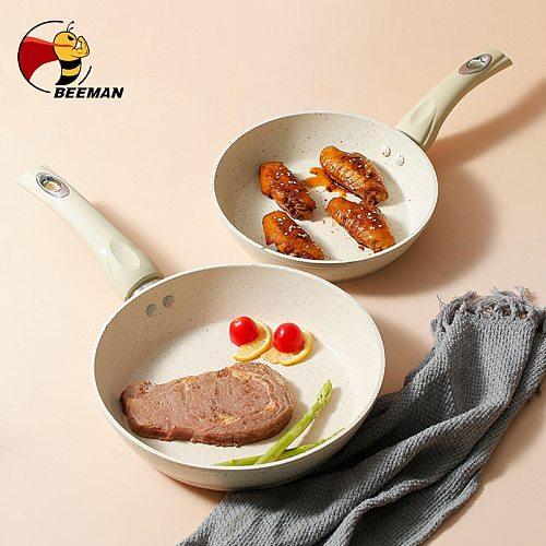 Beeman Frying Pan Wok With Heat-resistant Bakelite Handle Marble Non-stick Pan Grilled Steakpan Kitchen Cooking Tools Cookware