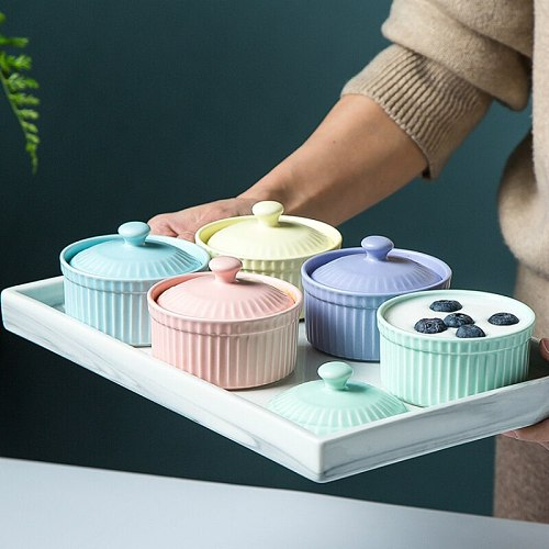 New Small Ceramic Cooking Pots With Lid Home Used Steamed Egg Stew Soup Pot Cheap Oven Hotpot Casserole Thermal Cooker Wholesale