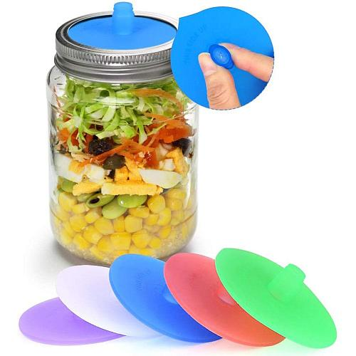 5Pcs Silicone Waterless Fermenting Airlock Lids Covers Stainless Steel Band for Wide Mouth Mason Jar Sealed Lid Kitchen Supplies