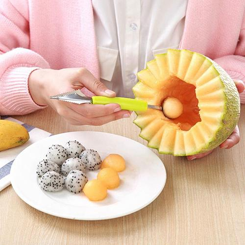 2 In 1 Fruit Platter Carving Knife Melon Spoon Stainless Steel Double Side Fruit Digging Spoon Watermelon Kitchen Gadgets
