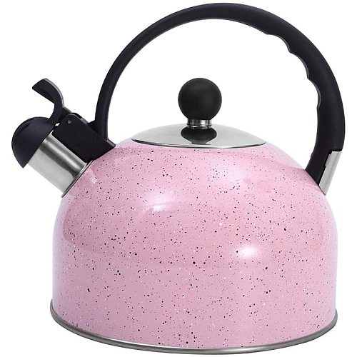 Tea Kettle, Whistling Stainless Steel Teakettle for All Stovetop Tea, Thin Base, 2.5Liters Prink