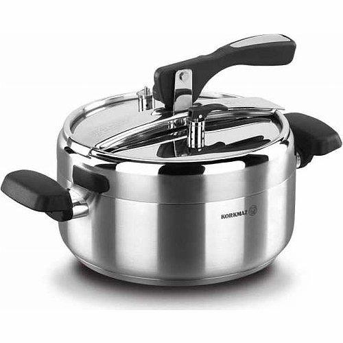 Korkmaz Turbo Kitchen Pressure Cooker Stainless Steel Manual Slow Cooker 5L/7L/9L