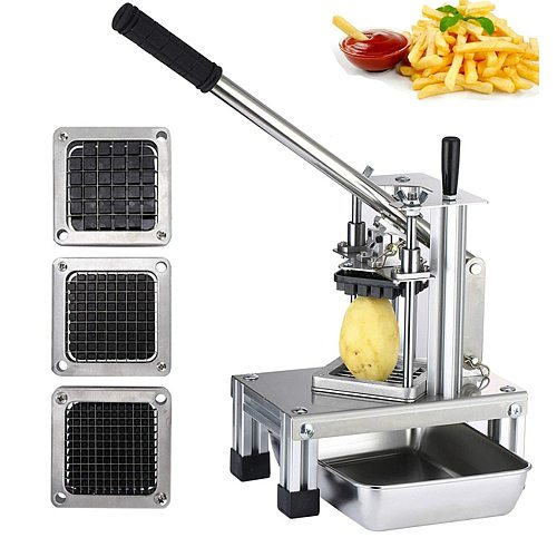 Commercial Potato Chipper Vegetable Fruit Slicer With 3 Stainless Steel Blades-1/4  1/2  3/8  French Fry Cutter