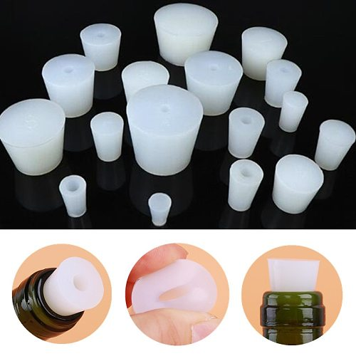 Home Brew Wine Stoppers Silicone Plug With 8mm Hole For Airlock Valve Bubbler Fermentation Exhaust Valve Silicone Rubber Plug