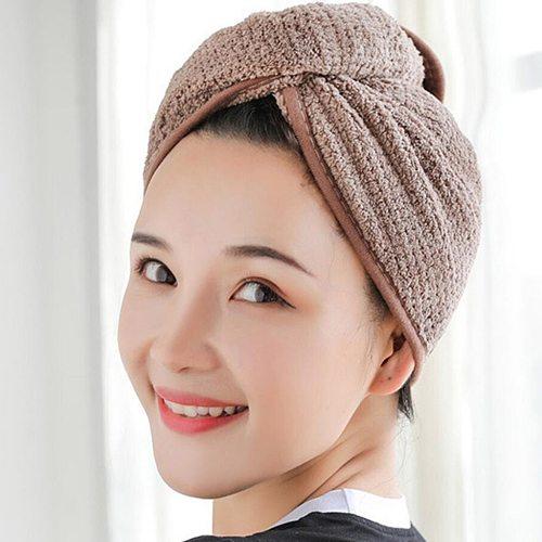 Girl's Hair Drying Hat Quick-dry Hair Towel Cap Hat Bath Hat Microfiber Solid Towel Cap Super Absorption Turban Hair Dry Cap