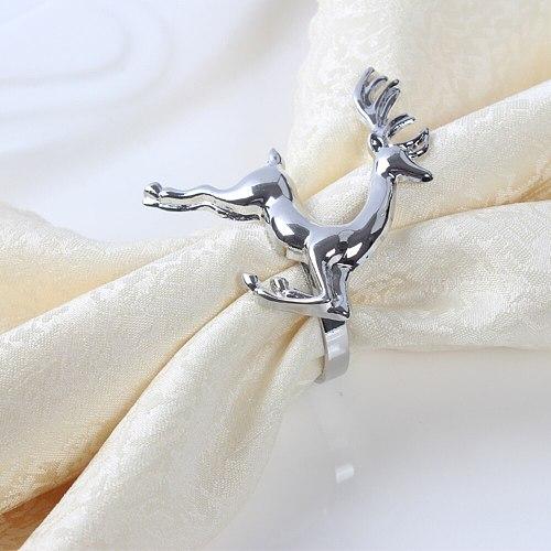 12pcs/lot Christmas Deer Napkin Rings Silver Gold Alloy Napkin Holder Buckle Hotel Wedding Party Table Decoration  Santa Ring